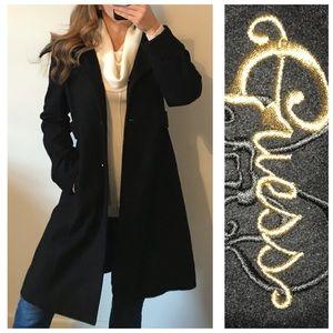 GUESS Classic Black Wool Long Winter Coat Large